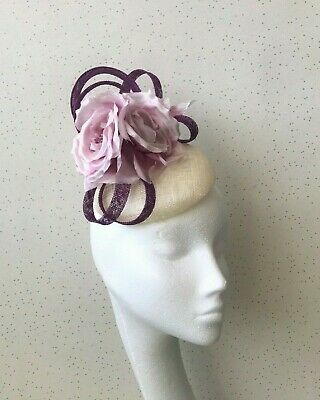 Lilac Wedding Fascinator Ivory and Purple  Pillbox Headpiece Violet Ascot Hat
