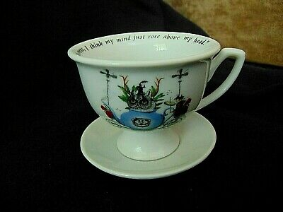 Whimsical Cup and Saucer Alice in Wonderland Inspired Vintage Mad Hatter