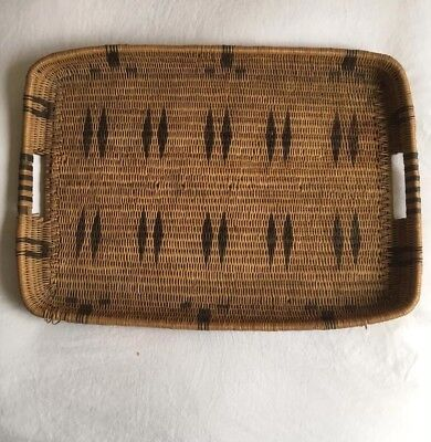 Beautiful Native American Vintage LARGE APACHE  Woven Wall SERVING Tray Basket