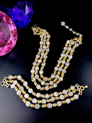 Crown Trifari 3 Strand Opaque Crackle Glass Mediterranean Necklace Bracelet Set