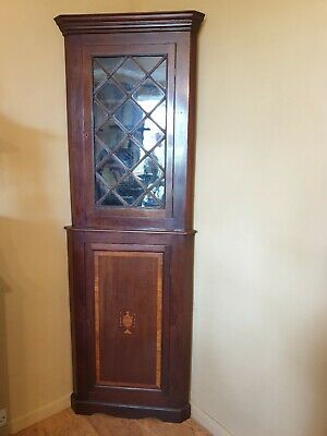 Antique Georgian glazed corner cupboard / cabinet