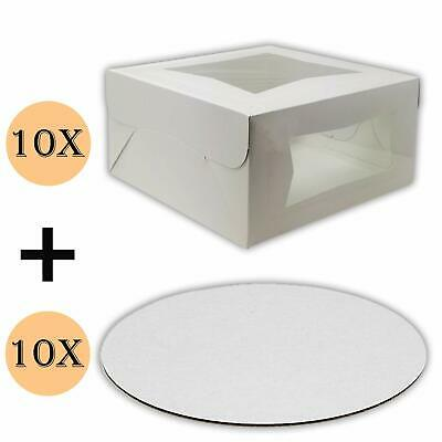 Cake Boxes 10 x 10 x 5 and Cake Boards 10 Inch, Bakery Box Has Double Window,