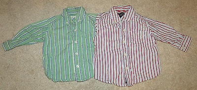 Lot (2) Childrens Place Button/Casual LS Shirts-Blue/Green Striped-6/9 Months
