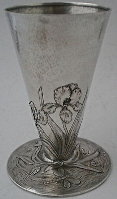 Hand Wrought Martele Sterling Nouveau Vase F Walter Lawrence Iris Dragonflies