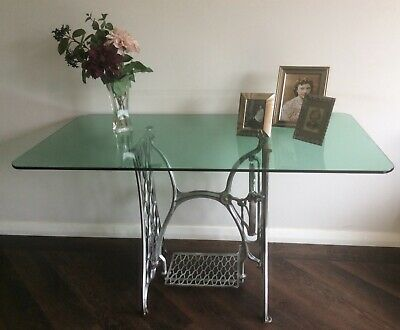 Large Table Dining Study Desk Glass Top on Vintage SINGER Sewing Machine Base