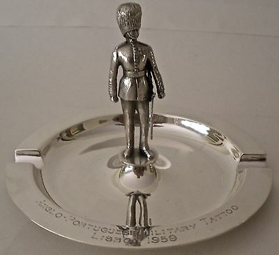 Garrard Figural Sterling Military Tattoo Trophy Ashtray Anglo-Portugese Lisbon