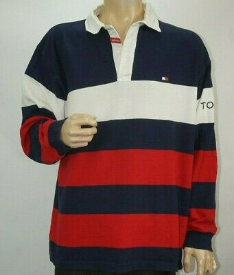 e698b0cde Tommy Hilfiger Vintage 90s Rugby Polo Long Sleeve Shirt Sweater Striped  Mens XL