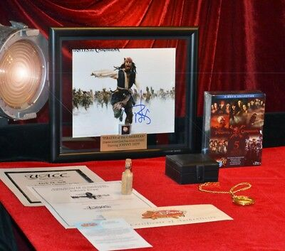 JOHNNY DEPP Signed PIRATES OF CARIBBEAN DISNEY PROP Gold Nugget, COA, DVD, UACC