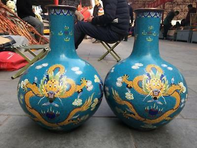 Chinese Palace Copper Cloisonne Enamel Blue Two Dragon Play Bead Pot Vase Pair
