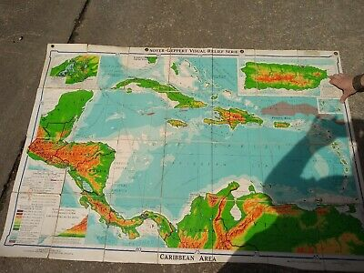 Denoyer-Geppert Visual Relief Map Series. The Caribbean Area. Canvas Backed 1957