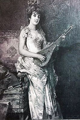 Conrad Kiesel 1888 LA PETTINIERA Girl Playing LUTE or MANDOLINO Matted Engraving