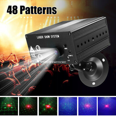 48 Pattern Mini Laser Projector Stage Lights LED RGB Lighting Party DJ Disco