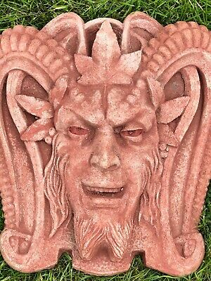 Decorative Sandstone Style Stone Pan Devil Gargoyle Garden Wall Hanging Plaque