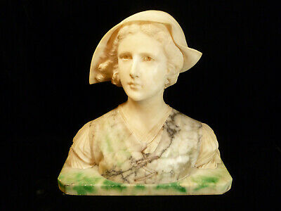Fantastic Museum Quality Artist Signed Alabaster Bust Of Dutch Woman Circa 1900