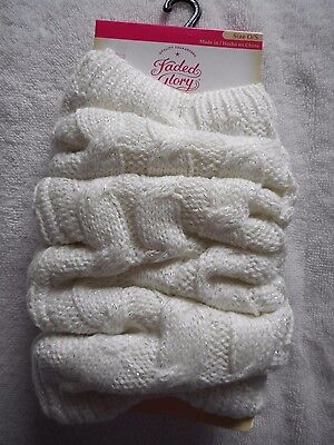 Girls Faded Glory Leg Warmers Ivory Metallic One Size Fits Most NEW 1 Pair
