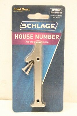 """New Schlage House Number Solid Brass Satin Nickle Finish 4"""" High Number 1"""