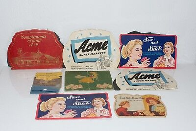 Lot of 8 Vtg Advertising Needles Card Holder A & P Acme Grocery Book Sew Stitch