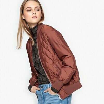 aa01b5c144e89 LA REDOUTE LADIES QUILTED BOMBER JACKET CINNAMON SIZE 12 NEW (ref G1)