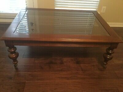 Ethan Allen British Classics Coffee Table w/Beveled Glass Top & Cane Insert