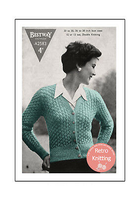 1950's Lace Cardigan in Two Sizes Vintage Knitting Pattern  Copy