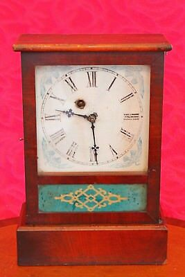 "Antique American ""Waterbury Clock Company "" 8 Day Wooden Case Clock"