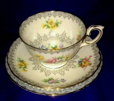 Crown Staffordshire Bread Plate & Tea Cup and Saucer Set