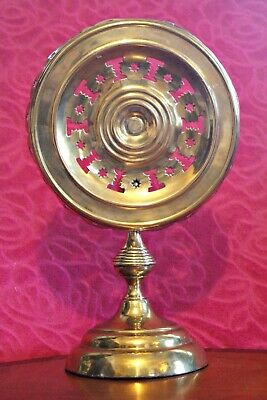 C1895 Antique Round Pierced Brass Tilt Top Table Candle Reflector -Pat No 702