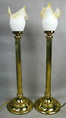 Superb pair of tall vintage Torch Flame brass & glass TABLE LAMPS / LIGHTS 61 cm