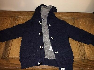 Boys Thick Fleece Blue Coat age 1.5-2 Marks and Spencer Designer Duffle Blue VGC