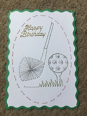 Quality Hand Stitched Happy Birthday Golf Theme Card Toppers X 1