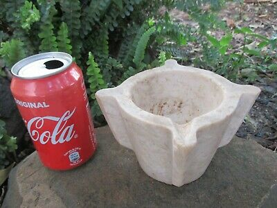 ANTIQUE 18th PRIMITIVE MORTAR IN MARBLE STONE TRUE APOTHECARY OLD GRINDING TOOL