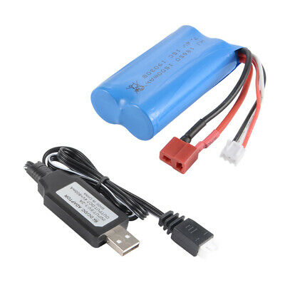7,4V 1500mAh 18650 RC Battery Replacement + USB Charger for WLtoys 12428 BC841