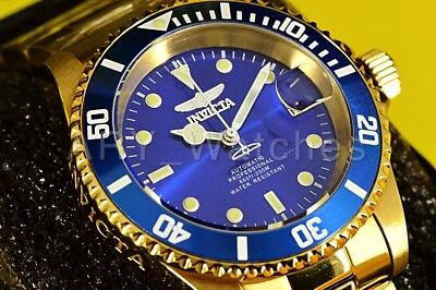 24763 Invicta Pro Diver 40MM Royal Blue Dial AUTOMATIC Gold Tone SS Bracelet Wat