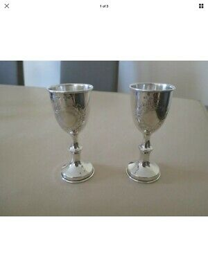 Beautiful Pair Of Solid Silver Cups