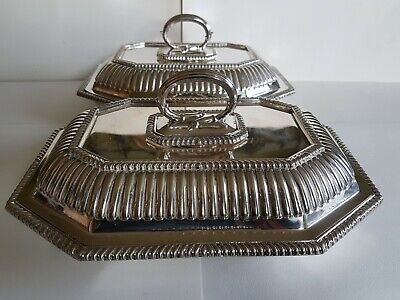 Matching pair of silver plate lidded serving dishes Cooper Bros. Sheffield 1918