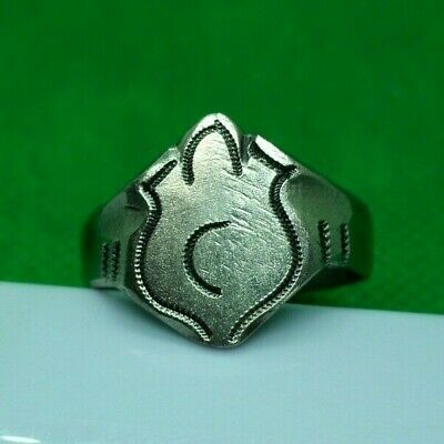 GENUINE MEDIEVAL DECORATED SILVER RING - COMPLETE! - 20,5 mm inner diameter