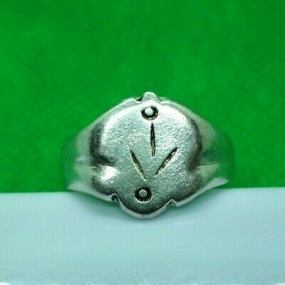 GENUINE MEDIEVAL DECORATED SILVER RING - COMPLETE! - 19 mm inner diameter