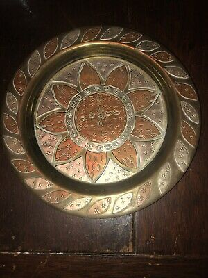 Rare Antique Persian/Islamic Copper/white Metal Plate - Signed