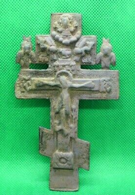 LARGE POST MEDIEVAL CHRISTIAN DECORATED BRONZE CROSS - 13 cm - WITH FINE DETAILS