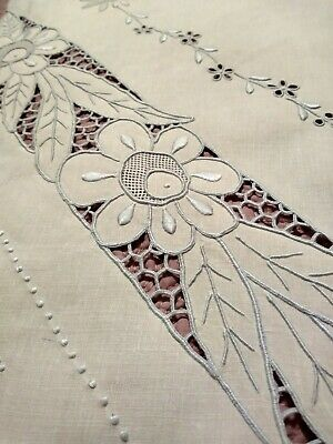 Large White  Linen Vintage Madeira Cutwork & Embroidery Table Runner 51x16""