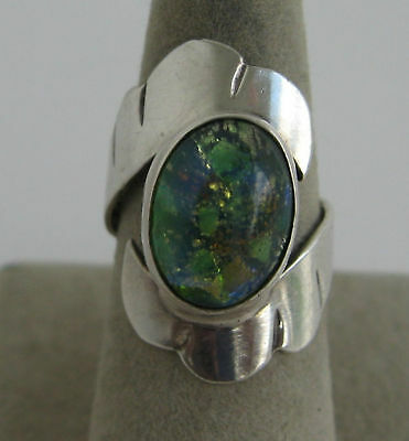 Vintage Taxco Mexican Glass Foil Opal Sterling Ring Green Blue Iridescent Stone