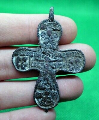 Medieval Christian Bronze Cross Pendant With Jesus And Superb Details - Rare