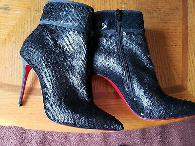 34788916f607 Christian Louboutin Moulakate 100 Black Sequin Glitter Ankle Bootie 38 1 2