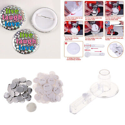 Button Badge Circle Cutter + 100 Button Part for Beginners DIY Making Badges