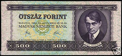 HUNGARY 500 FORINT 1980 BANKNOTE P#172c UNGARN MAGYAR UNC