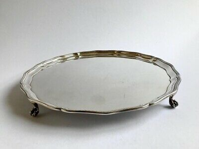 Large Silver Plate Salver Tray Georgian Style Ball And Claw Feet