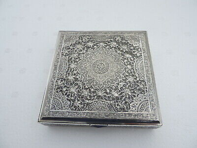 FINEST ANTIQUE SIGNED SOLID SILVER PERSIAN ISLAMIC JEWELRY BOX 311 gr 10.95 OZ