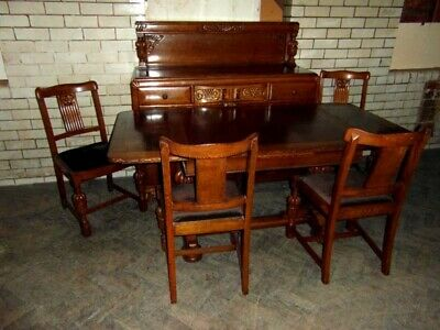Stunning Carved Oak Six Piece Dining Suite