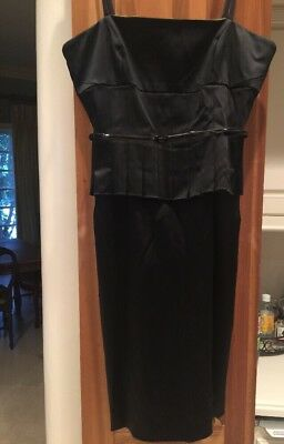 Black Satin Cocktail Dress Tuxedo Dress Fitted Sexy Elegant Size 6 Stretch