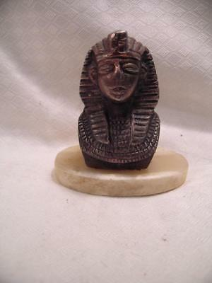"Vintage Miniature 3 1/4""  King Tut Head with Marble base ~  Gift shop souvenir ?"